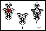 Gothic Tribal Rose Back Tat by Quicksilverfury