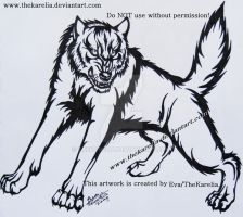 Tribal Wolf Tattoo Design by TheKarelia