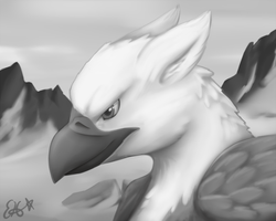 gryphon in grayscale by OEmilyThePenguinO