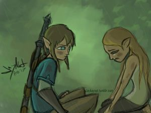 2017 02 06 (2) Breath of the Wild Zelda and Link-c by JayNatSketch