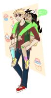 Homestuck: Dave, Jade and cupcakes by mansly