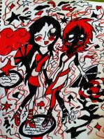 Black, White, and Red All Over by NottheVoreFreak