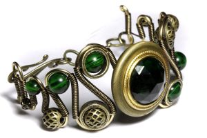 Steampunk Bracelet Green Jewel by CatherinetteRings