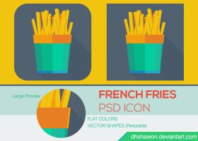 French Fries Flat Icon PSD by dhshawon