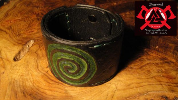 G3survival Celtic spiral Men's leather cuff by G3survival