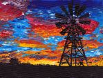 Windmill sunset by spanner88