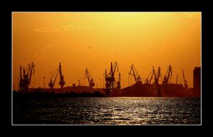 Thessaloniki port sunset by avramidis
