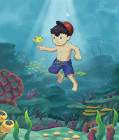 Commission: Ness and the Tale of Under the Sea by Lewnett