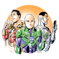 Shazam, Luthor and Cyborg by Sii-SEN