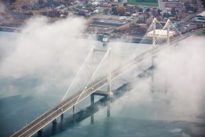 Cable Bridge from the Sky by SonjaPhotography