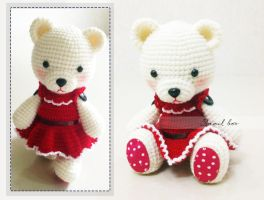 Crochet bear in dress by abaoabao