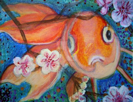 Koi and Cherry Blossoms by bluebutterflyart
