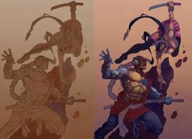 Shwann fight process by Alex0wens