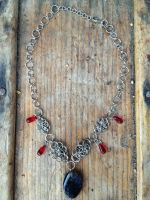 Dragon Agate and Red Glass Bead Fairymail Necklace by FaerieForgeDesign