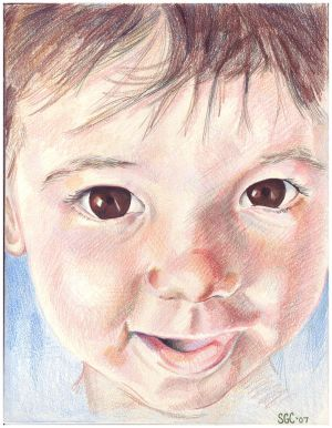 Colored Pencil drawing entitled Clara at 9 Months