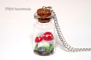 Red mushrooms in a glass jar necklace by virahandmade
