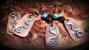 hand forged copper earrings by ReneeRutherford