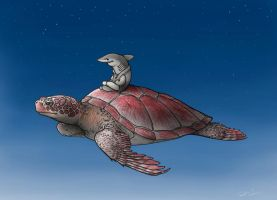 Dream of Flying Sea Turtles by RobtheDoodler