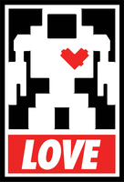 Lovebot - Obey Sticker by MatthewDelDegan