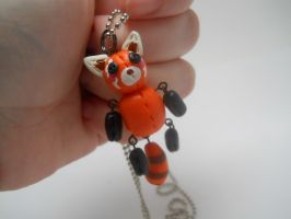 Red Panda Doll Polymer Clay Charm Necklace by TiellaNicole