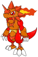 Meradramon the Rageful Lizard by Infernape77