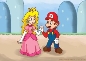 Mario and Princess Peach by TrishaKat