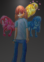 Crayon drawing 1-Three emotion by arielthealien