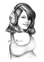 Girl with headphones by dh6art