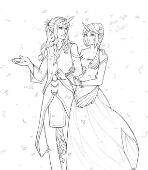 Unedo and Alba Tyto Lineart by sketchtastrophe