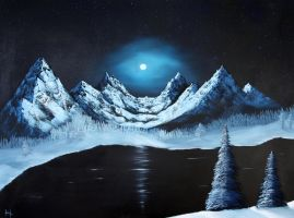 Fullmoon over mountainrange by LeenOne