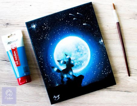 Shiny Umbreon under the moon pokemon painting by ApolloniaGalleria