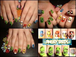 Angry Birds nails by Niquesse