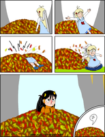 Falling on the pile of leaves by SailorEnergy