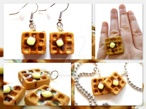Buttery Syrup Waffle Jewelry by right2bearcharms