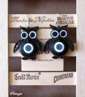 Quilled owl earring by pinterzsu
