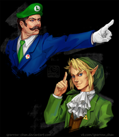 Luigi/Link as Phoenix Wright/Miles Edgeworth by sparrow-chan