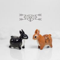 Cosmic and Tribal Bunny Rabbits by RamalamaCreatures