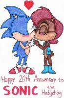 Happy 20th Birthday to Sonic by nintendomaximus