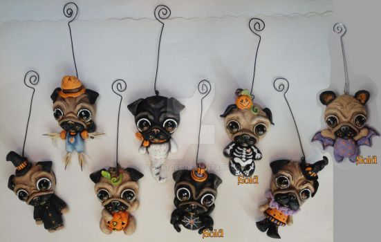 2014 OOAK Pug Halloween Ornaments (all) by peggytoes