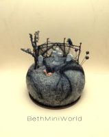 Miniature cementery scene pincushion-mixed media by BethMiniWorld