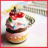 Strawberry Cake Necklace by cherryboop