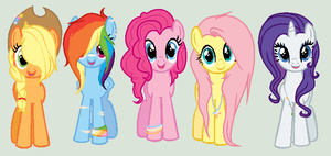 + Mane six - older and redesigned + by OwlliesPonies
