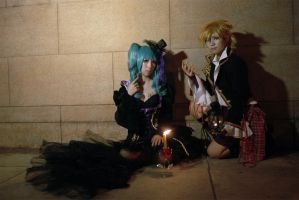 Sandplay ver Miku and Len by Mm-miyoko