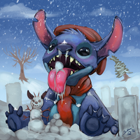 Stitch's First winter by BlindCoyote