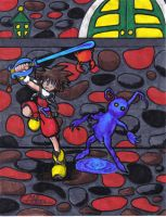 Sora-attack on the heartless- by Corky-Lunn