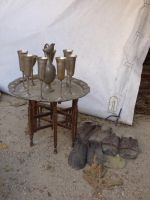 Medieval table with glasses and shoes by A1Z2E3R