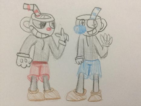 Cuphead and mugman by elementals12
