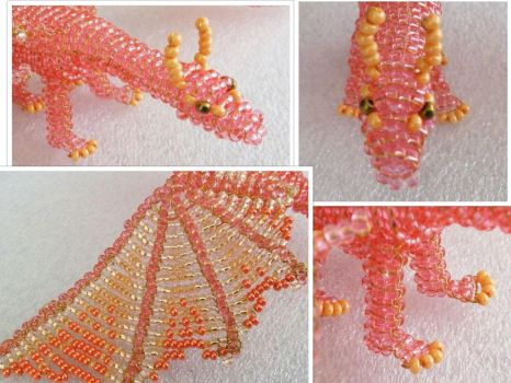 Beaded salmon pink dragon in detail by EstonianBeads