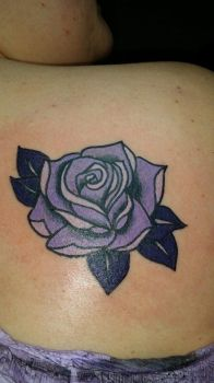 neotraditional purple rose tattoo by TattooBear