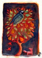 and a partridge in a pear tree- bonzaialsatian by childrensillustrator